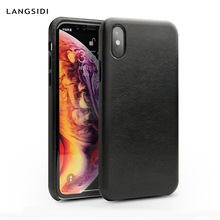 LANGSIDI Genuine Leather thin Shockproof Case for iPhone 8 plus case luxury covers For iphone x funda iphone 7 xr xs max Coque