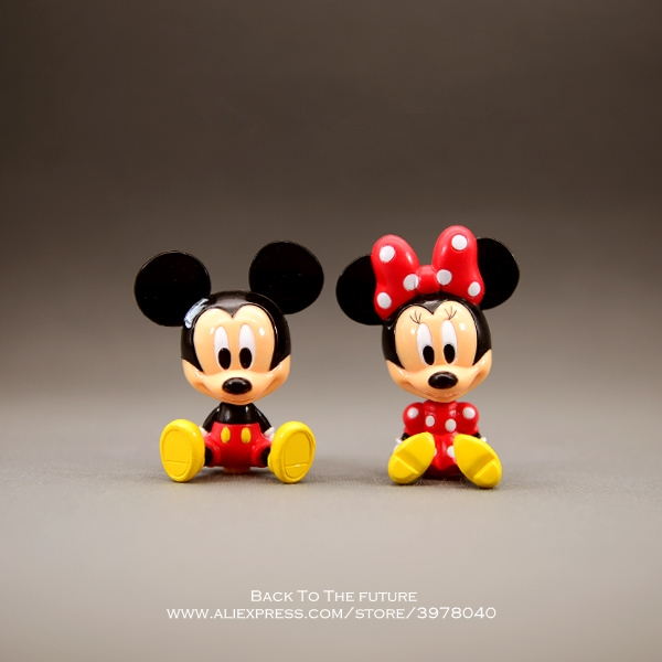 Disney Mickey Mouse Minnie 7cm Sitting Posture Action Figure Posture Anime Decoration Collection Figurine Toy Model Children