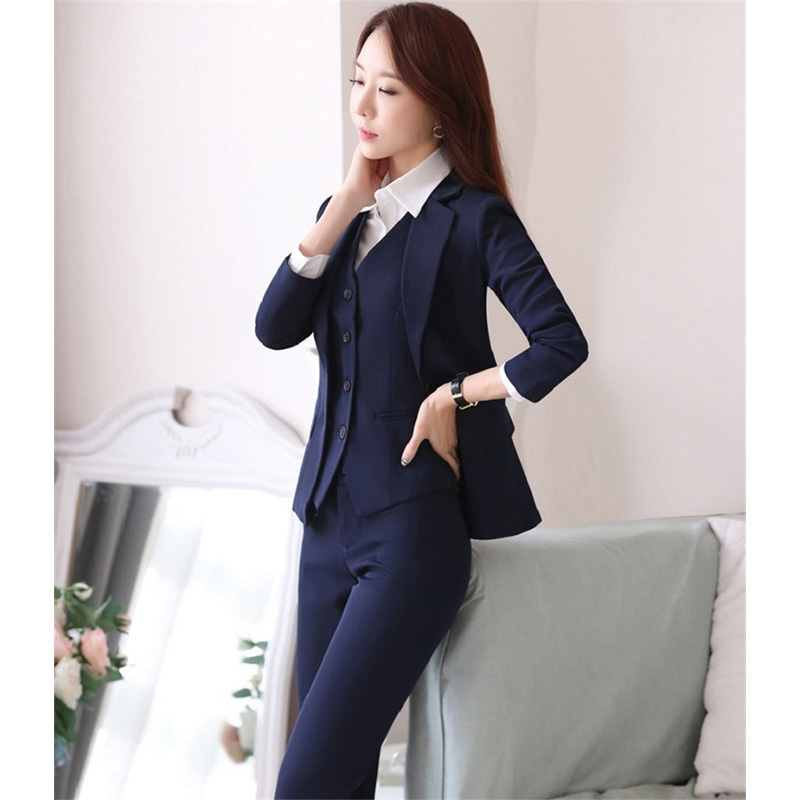 Jacket+pants+vest Navy Blue Womens Business Work Suits Female Office Uniform Slim Ladies Formal Trouser Suits 3 Piece Blazer Volume Large