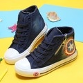 25~36 Toddler Boys Children Shoes High Top Side Zipper Captain America Girls Kids Canvas Shoes