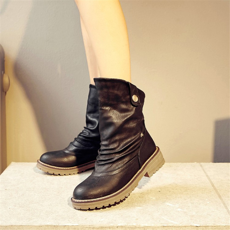2017 New Vintage Style Soft Leather Women Boots Flat Booties Women's Shoes Ankle Boots zapatos mujer Snow Boots Plus Size 34-43 front lace up casual ankle boots autumn vintage brown new booties flat genuine leather suede shoes round toe fall female fashion