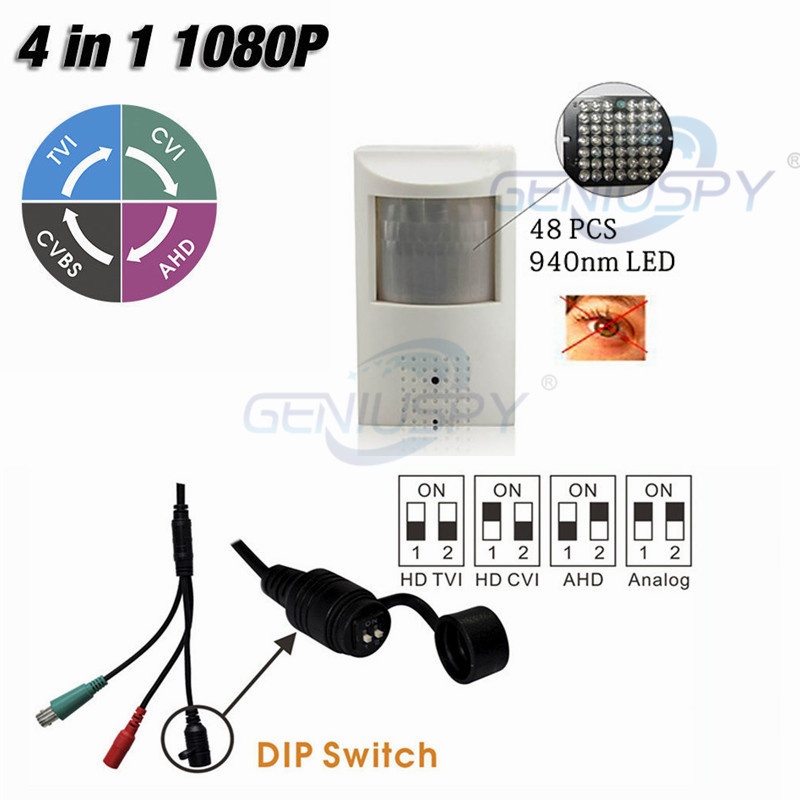 Hot Sale 1080P PIR Style Motion Detector 48Pcs 940NM Invisible IR LED HD AHD 4 IN 1 Camera With OSD For CVI/TVI/AHD And CVBS DVR 1080p ahd tvi cvi cvbs 4 in 1 camera with ir cut osd hd 2 8 12 mm manual lens metal ir vandalproof dome camera tr x20bd117
