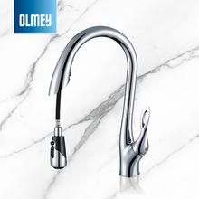OLMEY Contemporary Three Ways Swan Gooseneck Kitchen Mixer, Luxury Home Pull Out Spray Faucet Sink Water Tap
