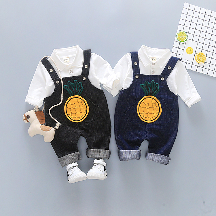 2018 Spring Summer Baby Suite Set Pants+Shirt Big Pineapple Kidgarden Boy Girl Clothes Free Shipping T-28