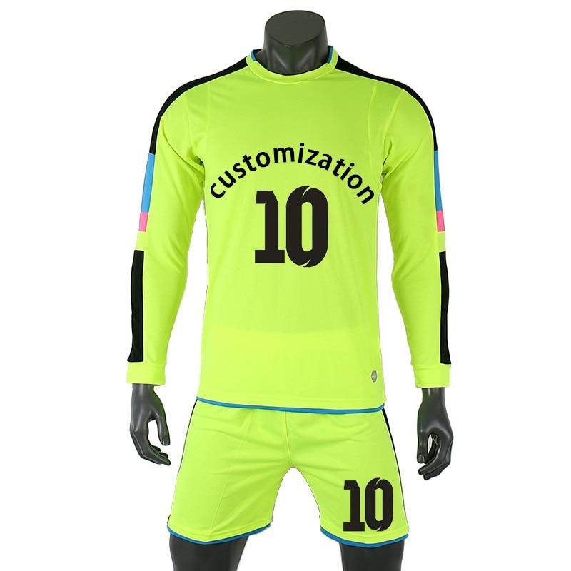 18/19 Adult Soccer Goalkeeper Training Uniform Men Kids Soccer Jerseys Sets Children Football Goalkeeper Doorkeepers Shirt Short