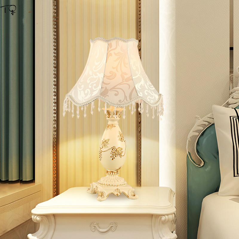 European style Table Lamp Nordic E27 Led Art Deco Hand Drawn Bedroom Bedside Living Room Wedding Pastoral Luxury Warm Decorative in LED Table Lamps from Lights Lighting