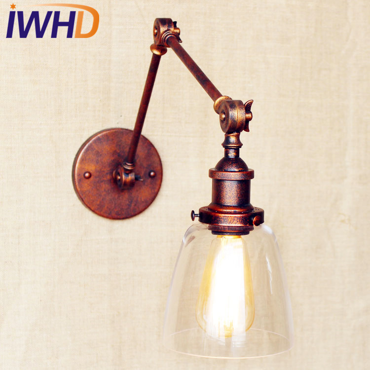 IWHD Retro Loft Style Industrial Wall Light Fixtures Glass Rustic LED Edison Retro Lampen Vintage Wall Lamp Sconce Arandela america rustic vintage pipe wall lamp in loft industrial style stair light edison wall sconce arandela lampara aplik