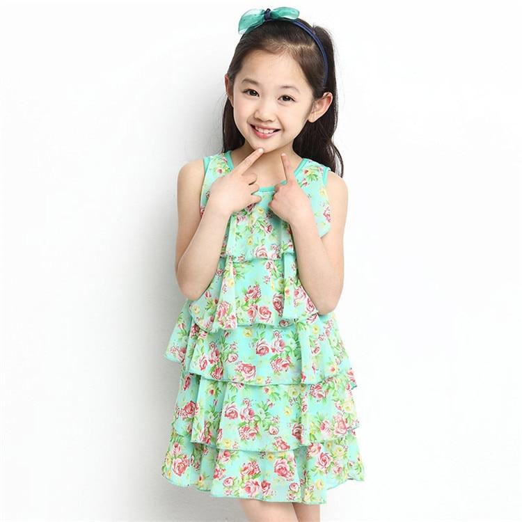 987e37c7b Korean girls summer dresses floral chiffon dress children dress free ...