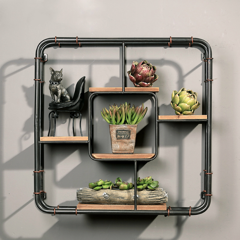 Free shipping Mining Iron Style Mural Wall Storage Home Furnishing Dining Room Shelf Cafe Bar Wall Decoration