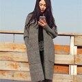 Mulheres Cardigan Sweater 2016 Sueter Mujer Longo Cardigan Camisolas Moda Grandes Bolsos Casuais Malha Camisola de Grandes Dimensões Puxar Femme