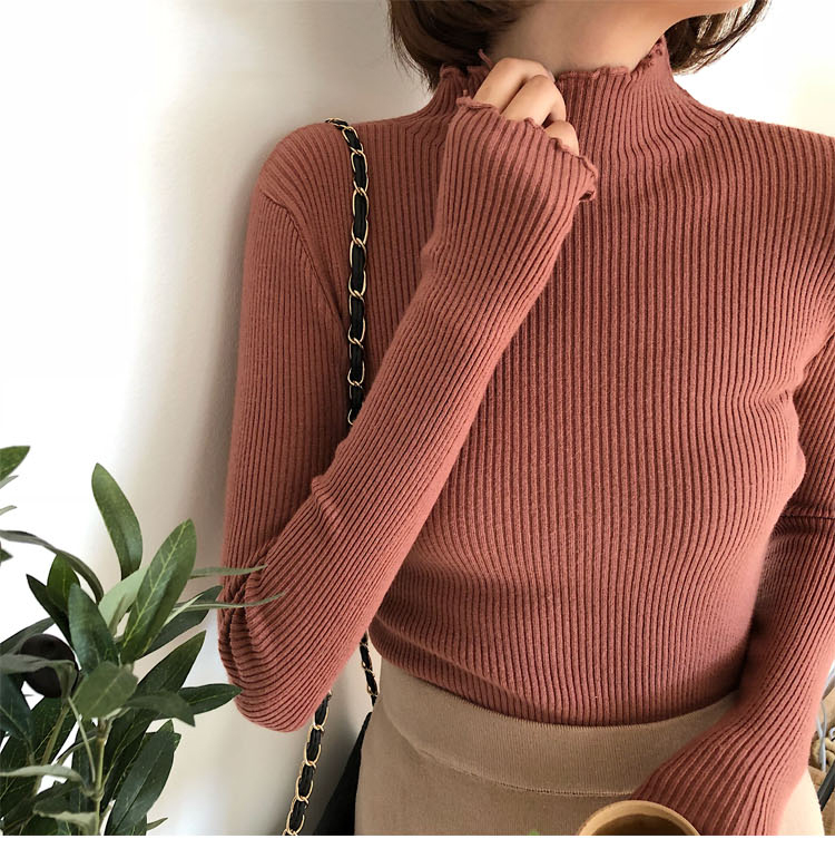 shintimes Women Sweater Slim Sexy Knitted Turtleneck Ruched High Elastic Solid 19 Fall Winter Fashion Sweater Women Pullovers 4