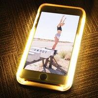 Pedra de mármore do Caso Para o iphone 6 6 s Plus LED Flash Selfie Tampa traseira Para o iphone 7 Plus 8 Tirar Foto de Incandescência TPU + PC caso