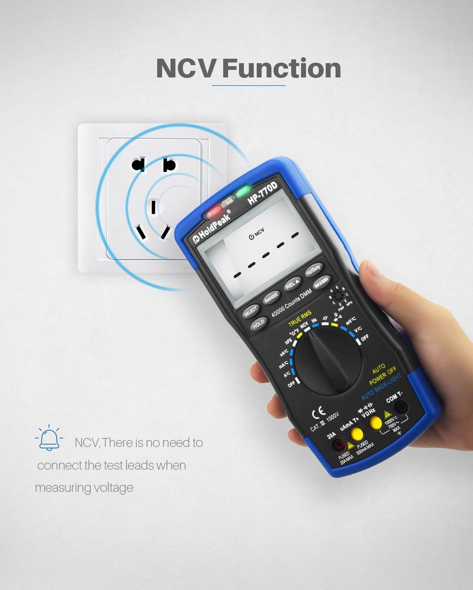 Probador multímetro digital HoldPeak HP-770D Rango automático - Instrumentos de medición - foto 3