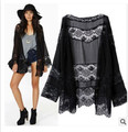 1pcs/lot  Europe and America style woman long Chiffon Lace patchwork full long coat loose casual coat