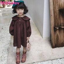 Mihkalev/Модная детская одежда; платье с длинными рукавами для девочек; Детские платья принцессы; однотонная одежда для маленьких девочек