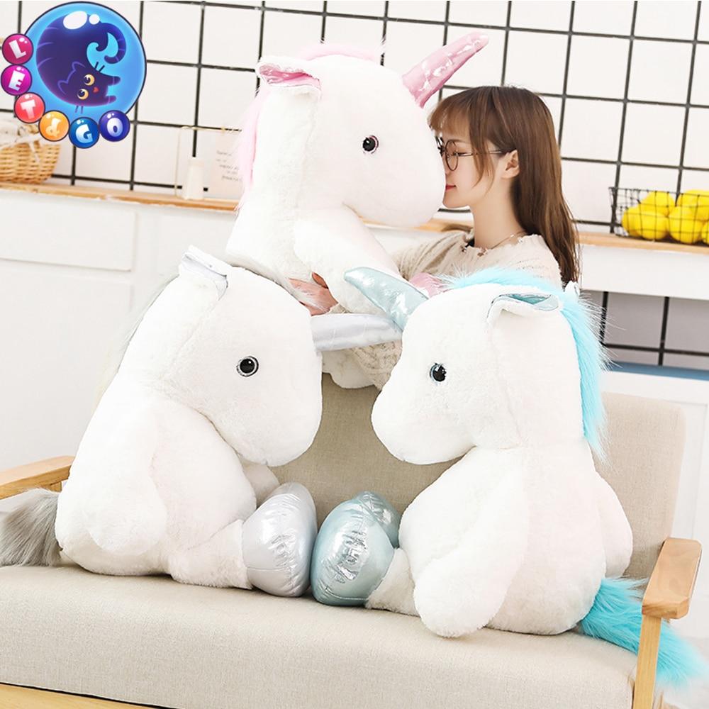 1pc 60/80cm Kawaii Unicorn Plush Toys Giant Stuffed Animal Horse Toys for Children Soft Doll Home Decor Lover Birthday Gifts