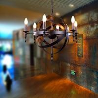 Nordic чердак Винтаж Американский сельской местности творческий ресторан бар кованого железа люстра круг миру лампы освещения WPL173