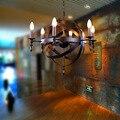 Nordic Sotão Americano Campo Rural Criativo Restaurante Bar Lustre de Ferro Forjado Do Vintage Círculo Globo Lâmpada de Iluminação WPL173