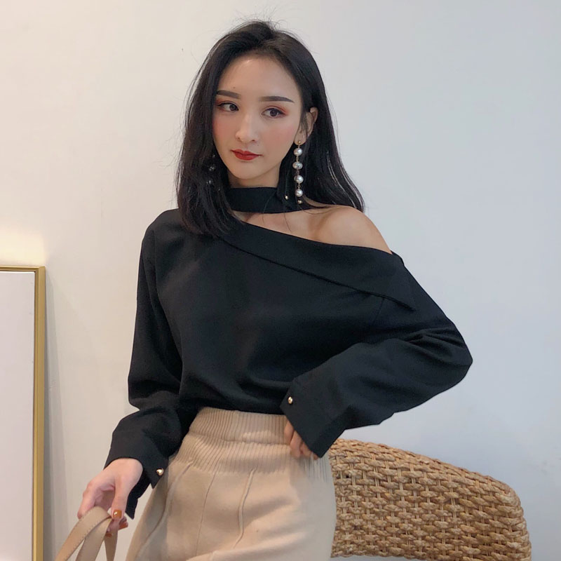 Women's Halter Neck Off-shoulder Black and White   Shirts     Blouses   Girl Full Sleeve   Blouse     Shirt   Top for Female SS265