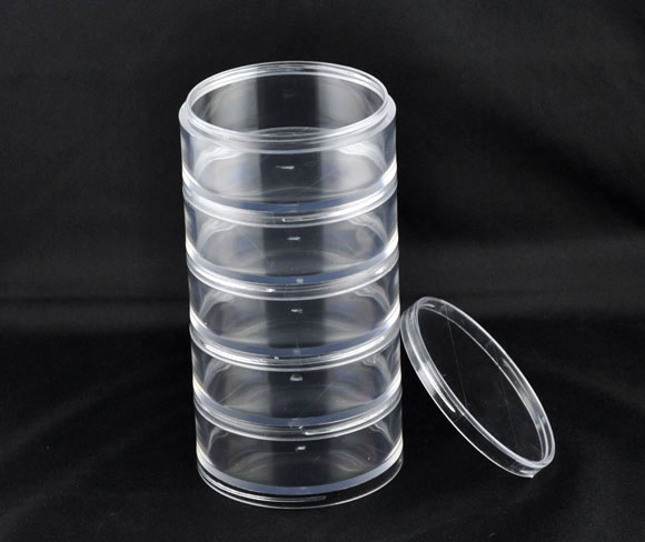 Plastic Adjustable Stackable 5 Tier <font><b>Beads</b></font> <font><b>Organizer</b></font> Container Storage Box Cylinder Jewelry Box Display <font><b>Organizer</b></font> image