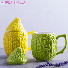 XING KILO Cute bitter gourd shape ceramic mug office simple coffee cup with lid drinking cup couple gift Mugs рюкзак bitter coffee 2015 pu