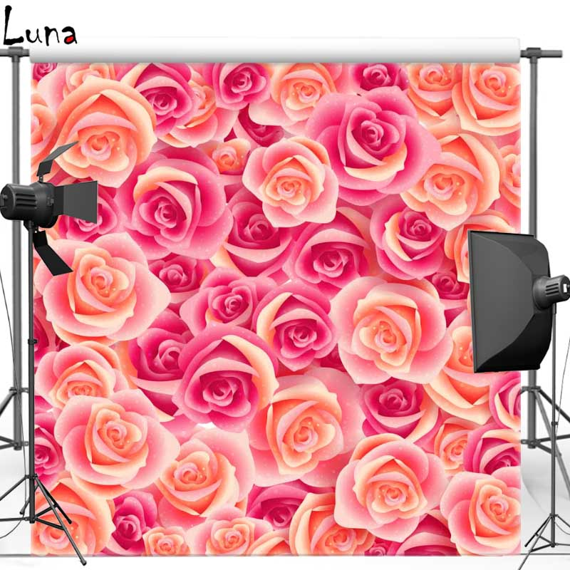 Pink Rose Vinyl Cloth Photography Background Backdrops Floral backgrounds for Wedding photo studio Free shipping F1117 new 2017 autumn winter baby rompers clothes long sleeved coveralls for newborns boy girl polar fleece baby clothing 3 12m 004