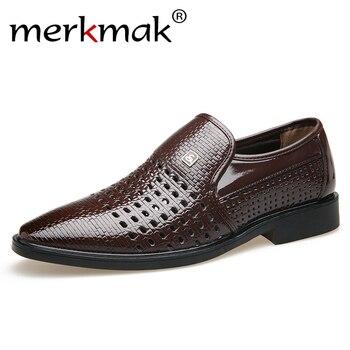 Merkmak 2019 nuevos zapatos de cuero Vintage para hombre de verano de cuero genuino sandalias de fondo suave con agujeros zapatos 38-44