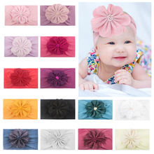 2019 Unisex Nylon Direct Selling For New Baby Headband Turban Flower Newborn Girl Elastic Kids Toddler Hair Band Accessories