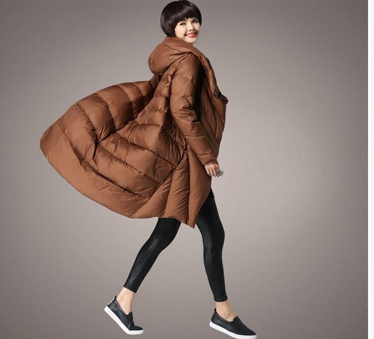 2018 vente chaude brun noir gagner rouge épais vestes Cocon en forme de Chapeau grande taille femmes manteaux d'hiver