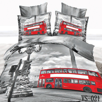 3 Piece 3d Printed Red Bus Bedding Kids/Adult Home Textiles Decor (1pc Duvet Cover+2pc Pillowcase) Polyester Synthetic Fabrics