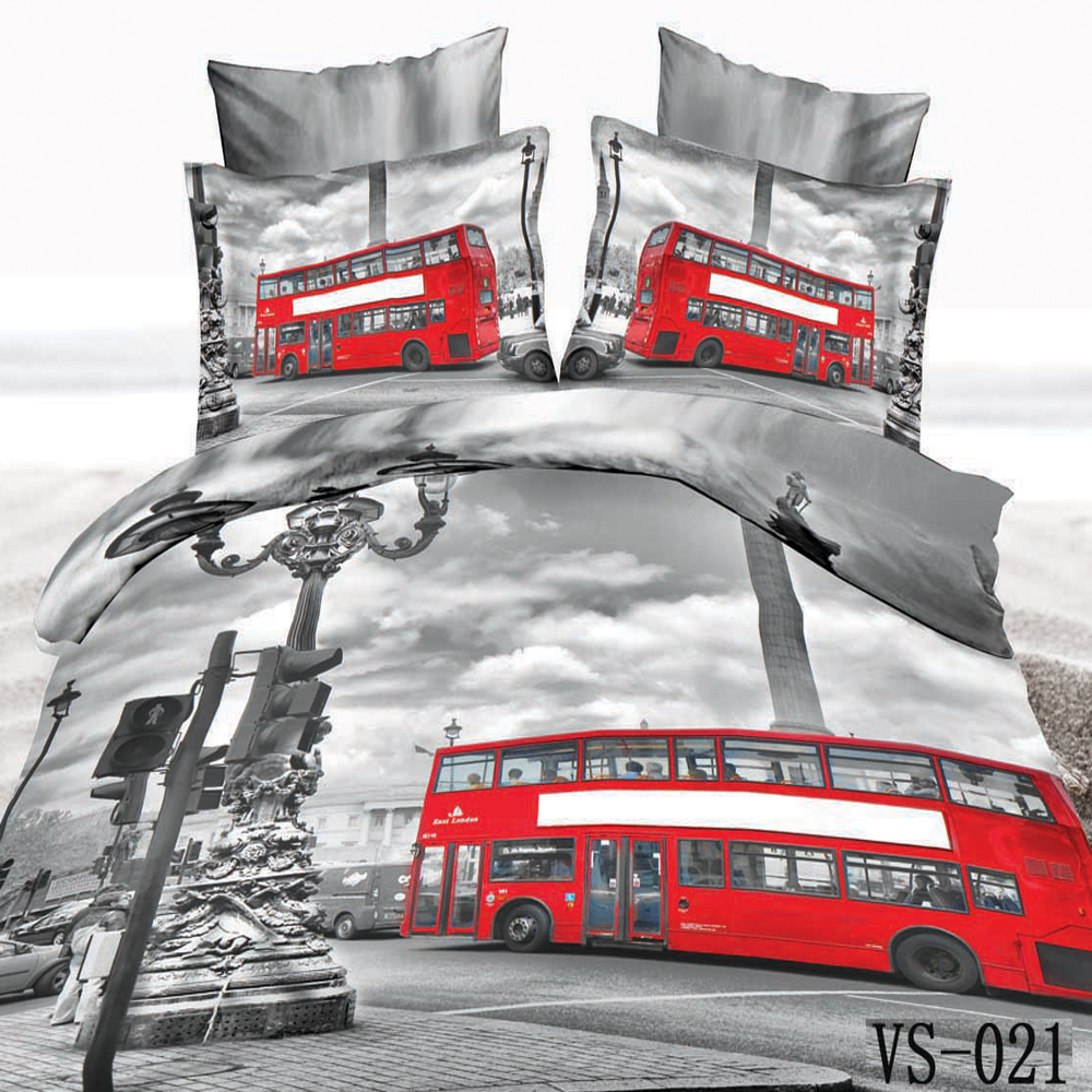 Polyester Synthetic Fabrics 3 Piece 3d Printed Red Bus Bedding Kids/adult Home Textiles Decor 1pc Duvet Cover+2pc Pillowcase