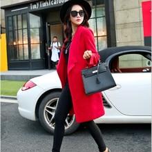 Women s Woolen Coat Temperament Long Coat Casual Outerwear Jacket Winter Coats Female Wool Coat Women