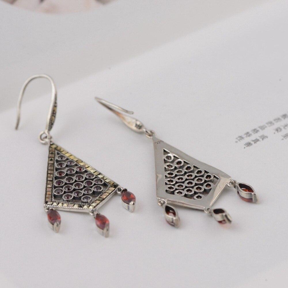 S925 boucle d'oreille fantaisie pur argent boucles d'oreilles avec antique artisanat, élégant et style élégant, simple et facile