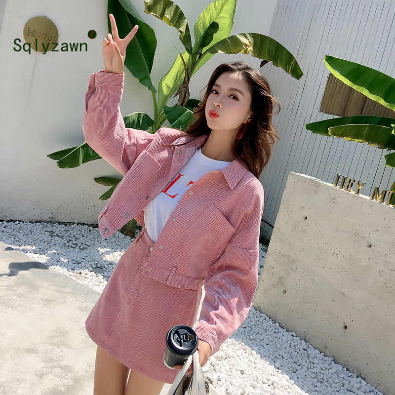Korean Sweet Women Two Piece Set Ladies Corduroy Pink Jacket Coat + Skirt Casual Women Set Autumn Mini Skirt + Outwear 2Pcs Suit