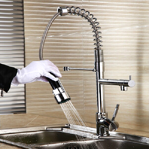 Retail Luxury Brass Kitchen Pull Out Faucet Hot Cold Kitchen Pull Out Mixer Free Shipping X8056K2