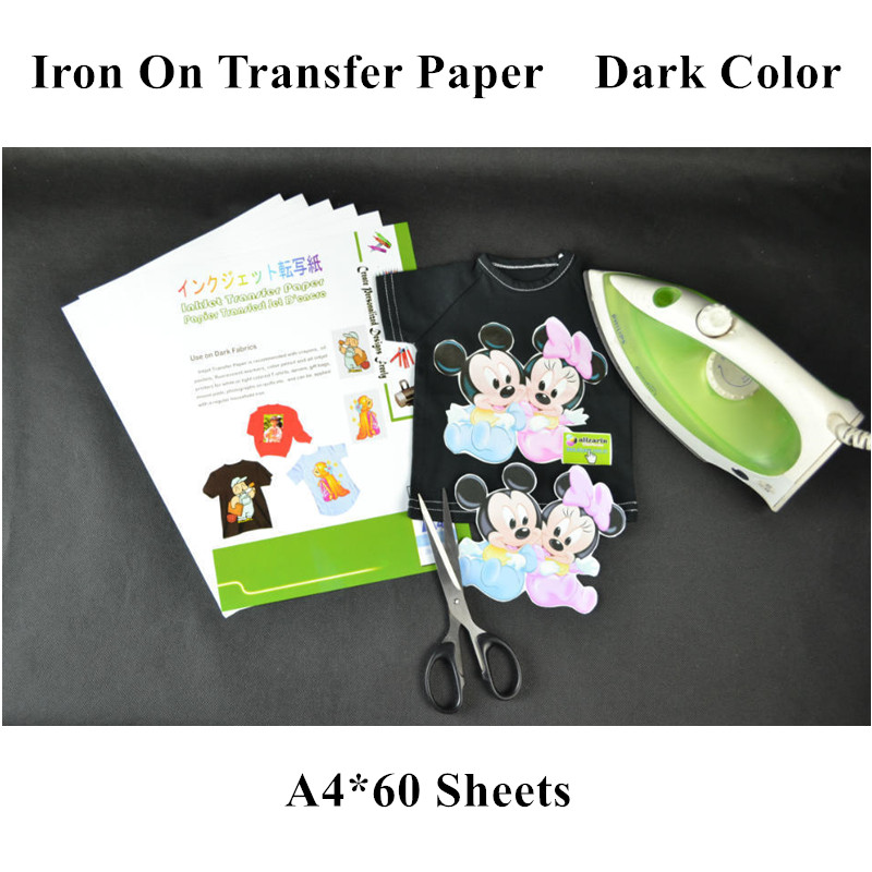(a4*60sheets) Iron On Inkjet Heat Transfer Paper For Dark T Shirts Iron-on Thermal Papel Transfer Heat Transfers For Clothing
