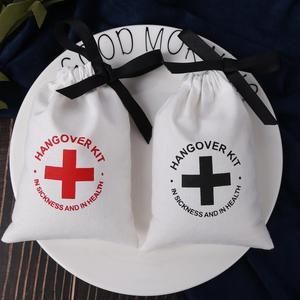 Image 3 - 綿100ジュエリー包装リボンホワイトキャンバス巾着バッグ結婚式の好意バッグパーソナライズされたカスタムロゴシックな小さなポーチ