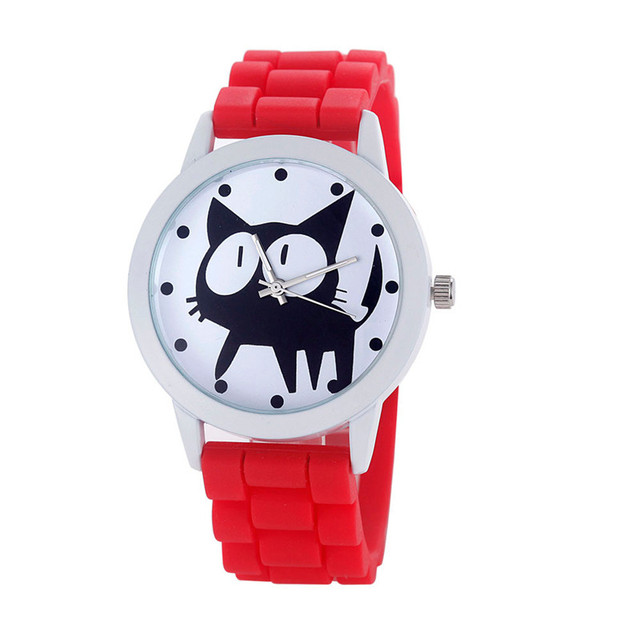 Women Multicolor watch Kitty Cat Pattern Child/Girl's Gifts Silicone Quartz Move