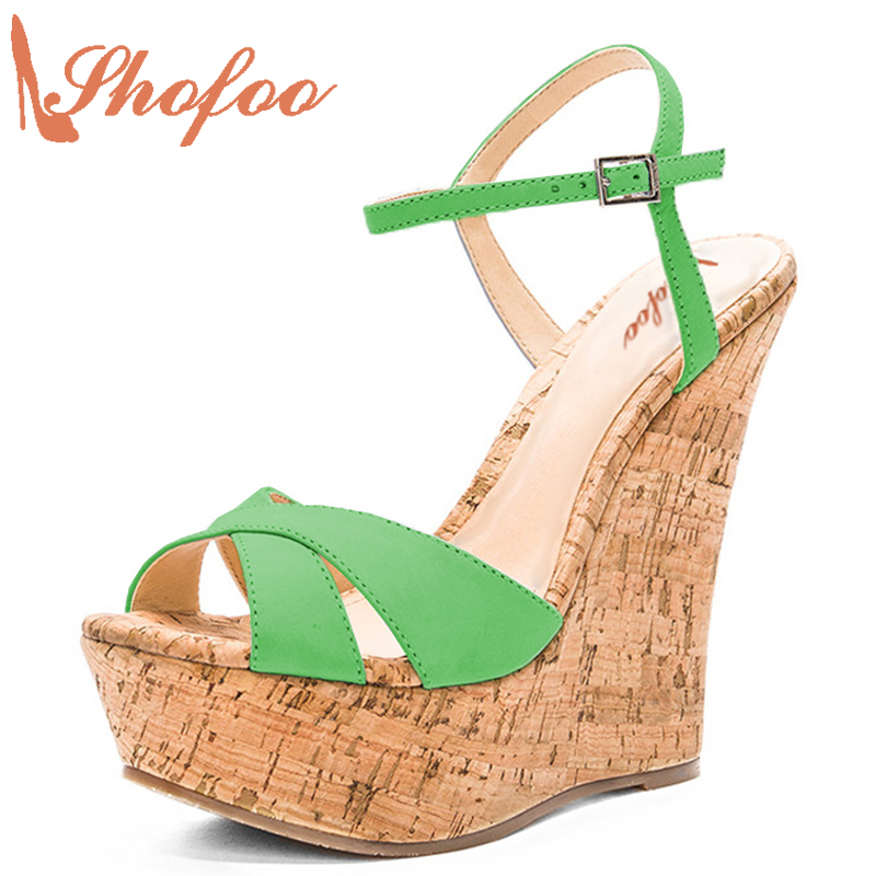 Green Wedge Sandals Spuerstar Shoes Top Quality Summer