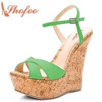 Shofoo 2017 Top Quality Summer Platform Wedges Sandals Women Spuerstar High Heels Clog Female Summer Shoes