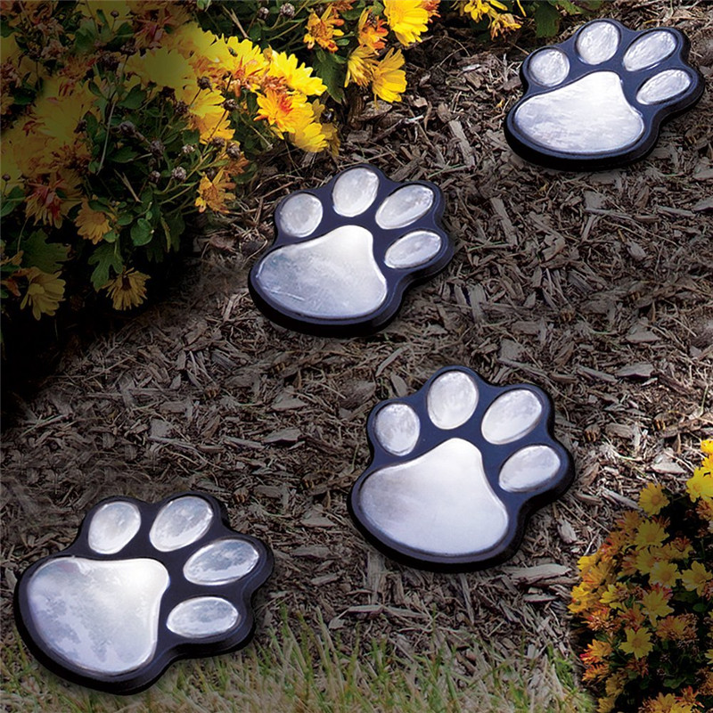 Hi lumix paw print solar garden lights 1 set of 4 animal - Decorative garden lights solar powered ...