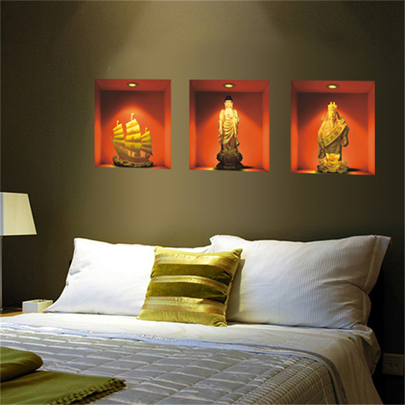3 teile/los 3D Wandaufkleber Simulation Buddha Statuen/Porzellan ...
