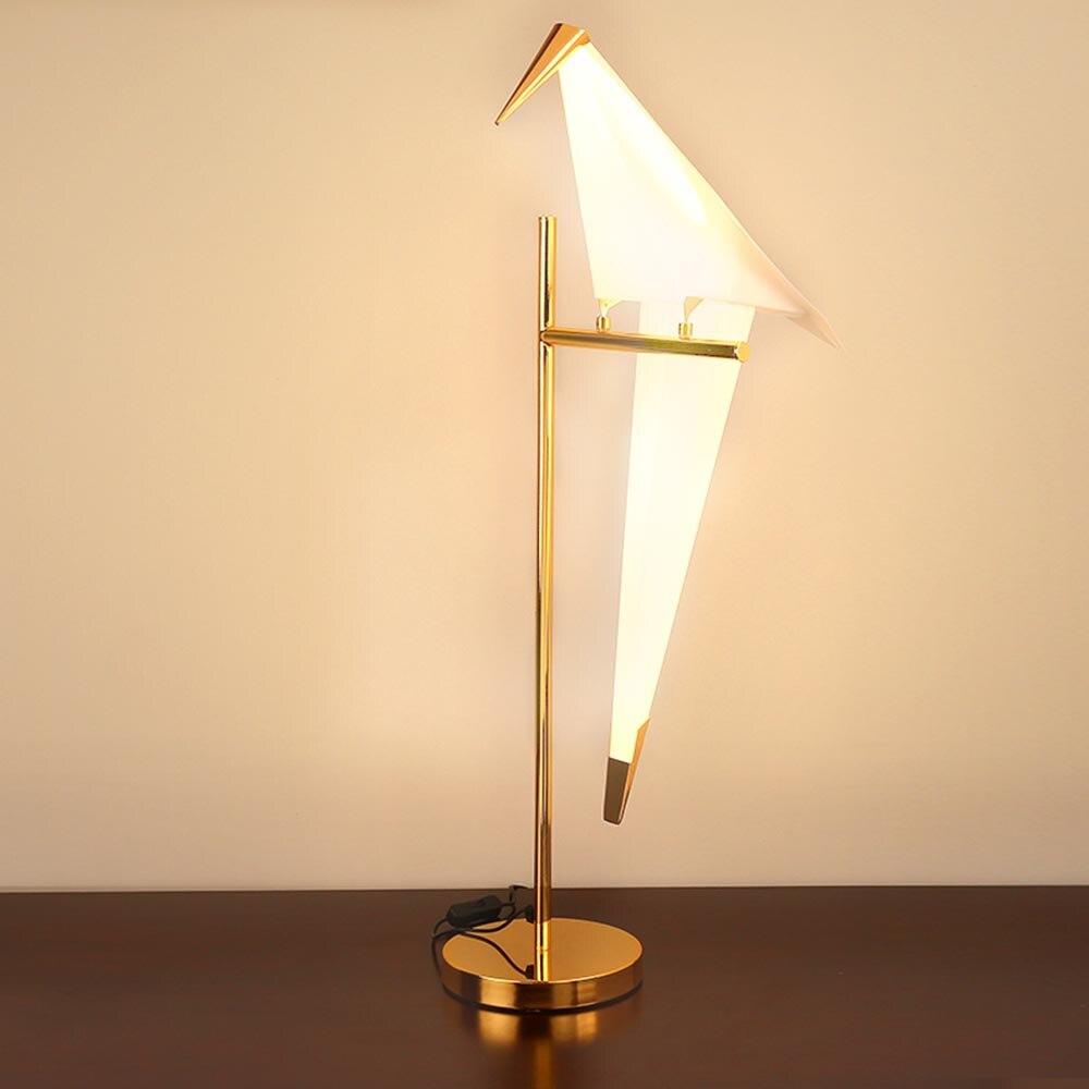 Papel Guindaste Pássaro nórdico LEVOU Lâmpadas de Mesa para o Quarto Dos Miúdos Sala de estar Ao Lado Da Varanda Mesa de Luz Noite Lâmpada Decoração da Sua Casa arte