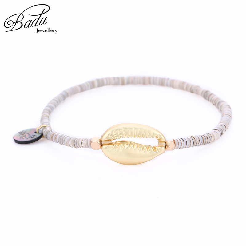 Badu 11.11 Pre-sale Golden Shell Bracelet Polymer Clay Beads Bohemian Bracelets for Women Holiday Fashion Jewelry Gift for Girls