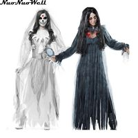 Masquerade Carnival Party Wear White Ghost Bride Long Dress Halloween Women Vampire Cosplay Zombie Costume Black Ghost Dress