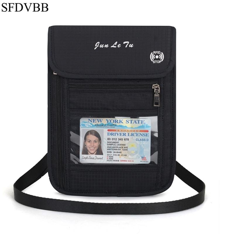 SFDVBB Fashion Travel Pouch RFID Blocking Purse Neck Wallet Cards Money Passport Holder in Travel Accessories from Luggage Bags
