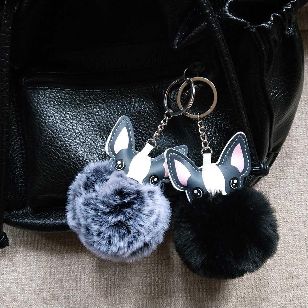 Pom Pom pele Do Cão da Chihuahua Chaveiro Fluffy Rex Artificial Chaveiro de Pele De coelho Bola Pompom Das Mulheres Chaveiro de Bolsa Pingente Carro jóias