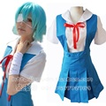 Neon Genesis Evangelion Rei Ayanami Cosplay Costumes Uniform Soryu Asuka Langley EVA Free Shipping (Shirt + Dress + Ribbon)