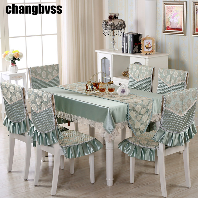 9pcs/set Embroidered Floral Table Cloth with Chair Covers Wedding Decor Tablecloth Rectangular Dining Table Covers Table Cloths pocket
