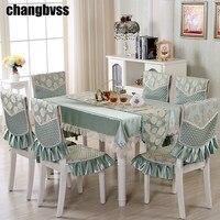 9 unids/set tela de mesa Floral bordada con fundas de silla decoración de boda mantel Rectangular mesa de comedor cubre manteles de mesa